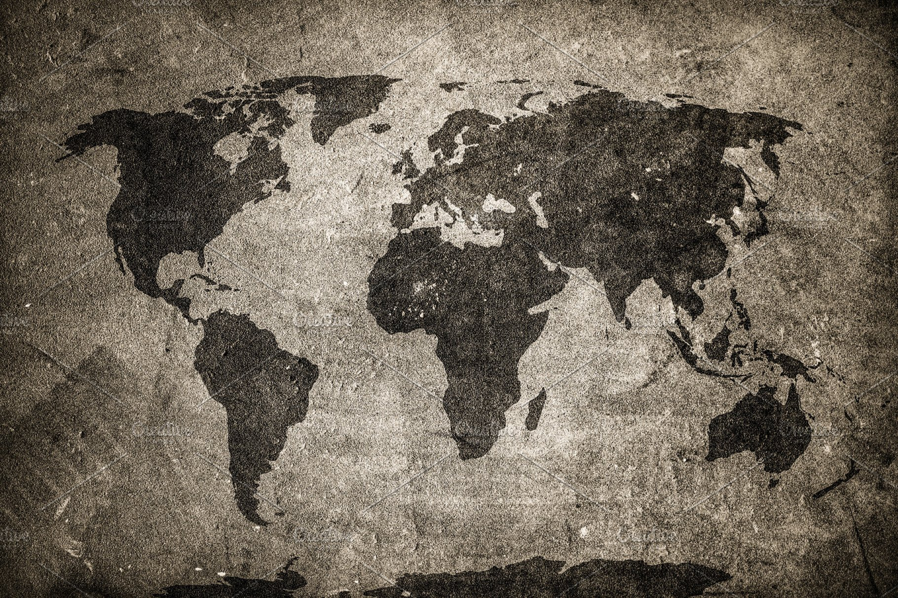 Retro World Map On Concrete Wall Education Photos Creative Market