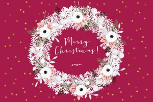 Watercolor White Christmas Wreath