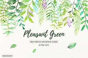 Watercolor Clipart Pleasant Green