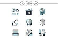 MRI equipment flat icons. Set 4