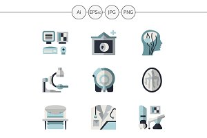 MRI equipment flat icons. Set 4
