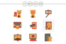 Red cat selfie color icons. Set 4