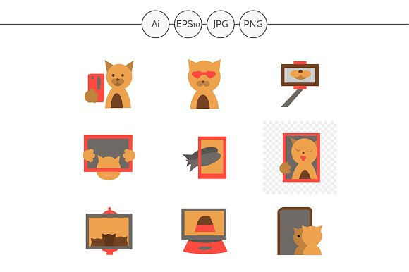 Red cat selfie color icons. Set 4 - Icons