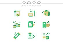 Baby food flat vector icons. Set 3