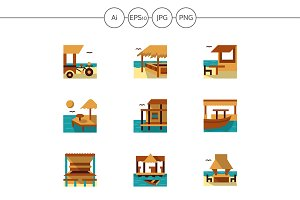 Bungalows and cafe flat icons. Set 3