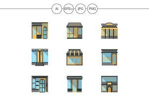 Storefronts flat color icons. Set 3