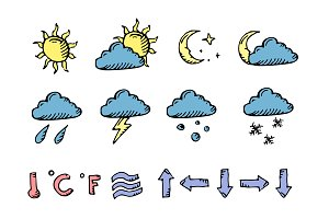 Doodle weather icons. Vector