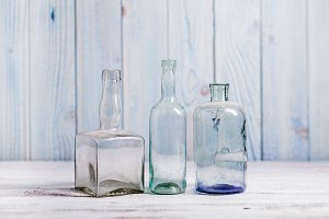 Retro bottles on a blue