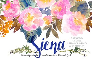 Siena - Handpainted Watercolor Flora