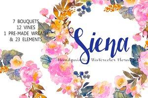 Siena - Handpainted Watercolor Flora