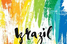 Brazil. Background watercolor brush