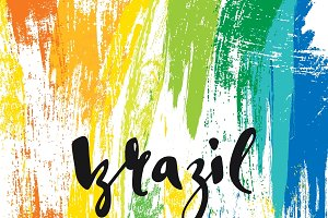 Brazil. Background watercolor brush