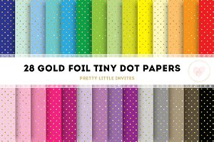Gold Foil Tiny Dot Papers