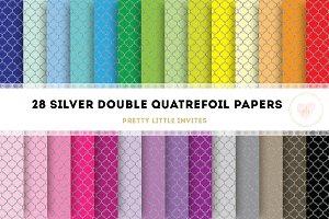 Silver Glitter Quatrefoil Papers