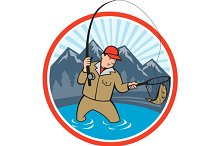 Fly Fisherman Catching Trout Fish