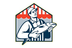 Fishmonger Holding Fish Retro