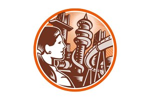 Futuristic City Woman Side Circle