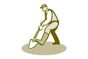 Gardener Landscaper Digging Shovel