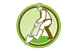 Gardener Landscaper Digging Circle