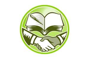 Handshake Book Pen Woodcut Circle