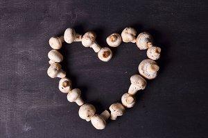 Brown beech mushrooms, Love. Heart by mushrooms
