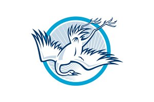 Heron Crane Diving Down Cartoon