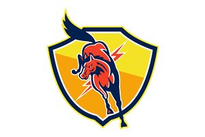 Red Horse Jump Lightning Bolt Shield