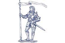 Knight Lance Flag Sword Sketch
