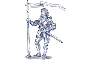 Knight Lance Flag Sword Sketch