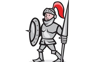 Knight Shield Holding Lance Cartoon