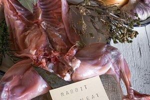 Unrecognizable woman cooking rabbit