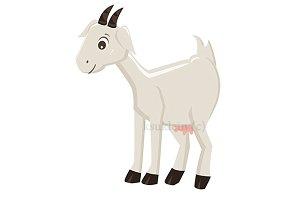 Cute cartoon goat, vector+jpg