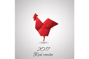 Red origami rooster. 2017 symbol