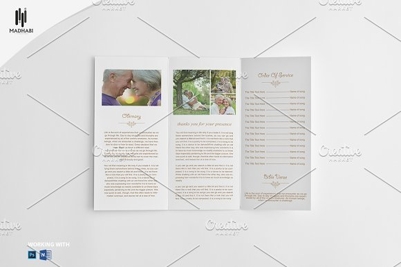 Trifold Funeral Program Template Brochure Templates Creative Market