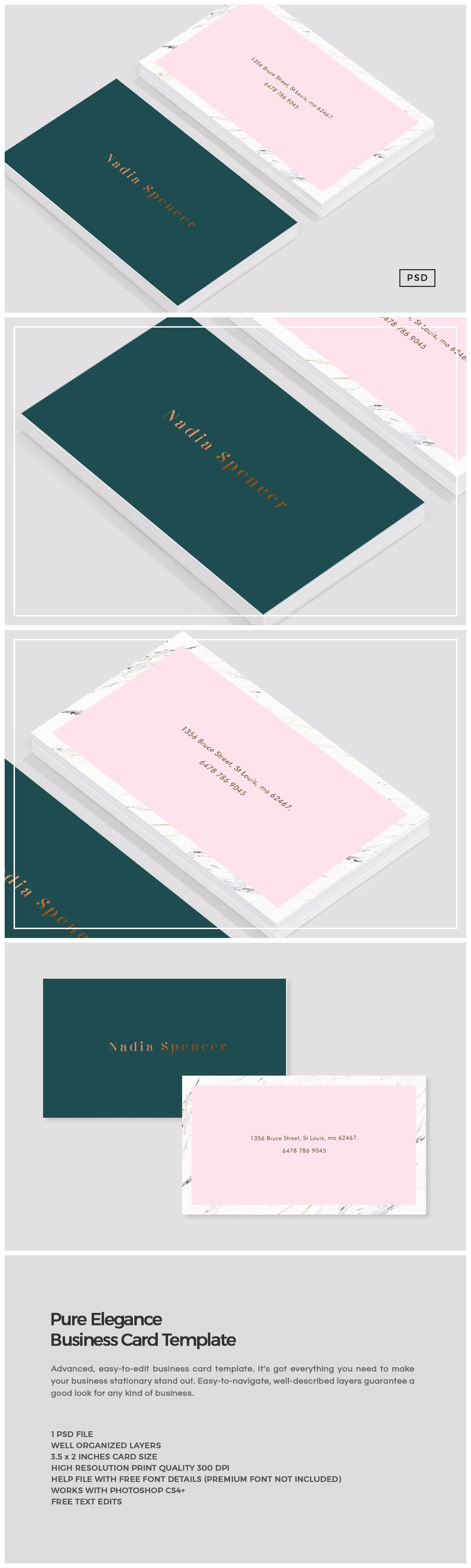 Pure elegance business card template business card templates pure elegance business card template business card templates creative market reheart Gallery