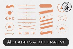 Labels & Decorative Vectors Vol.3