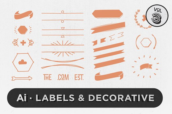 Labels & Decorative Vectors Vol.3 - Objects