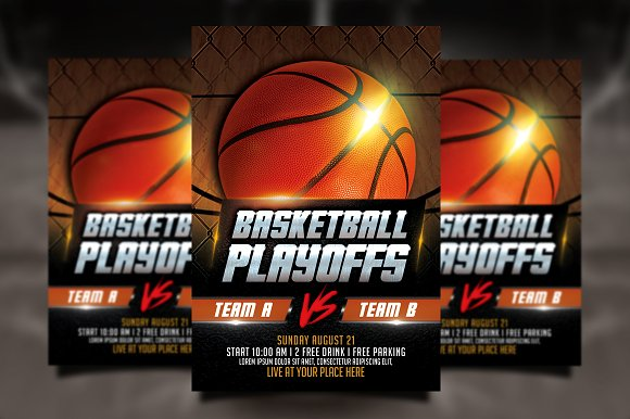 Basketball Playoffs Flyer Flyer Templates on Creative Market – Basketball Flyer Example