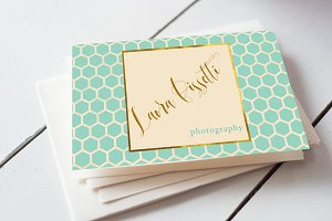 Teal Quatrefoil Business Card
