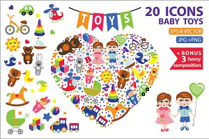 Children toys icons