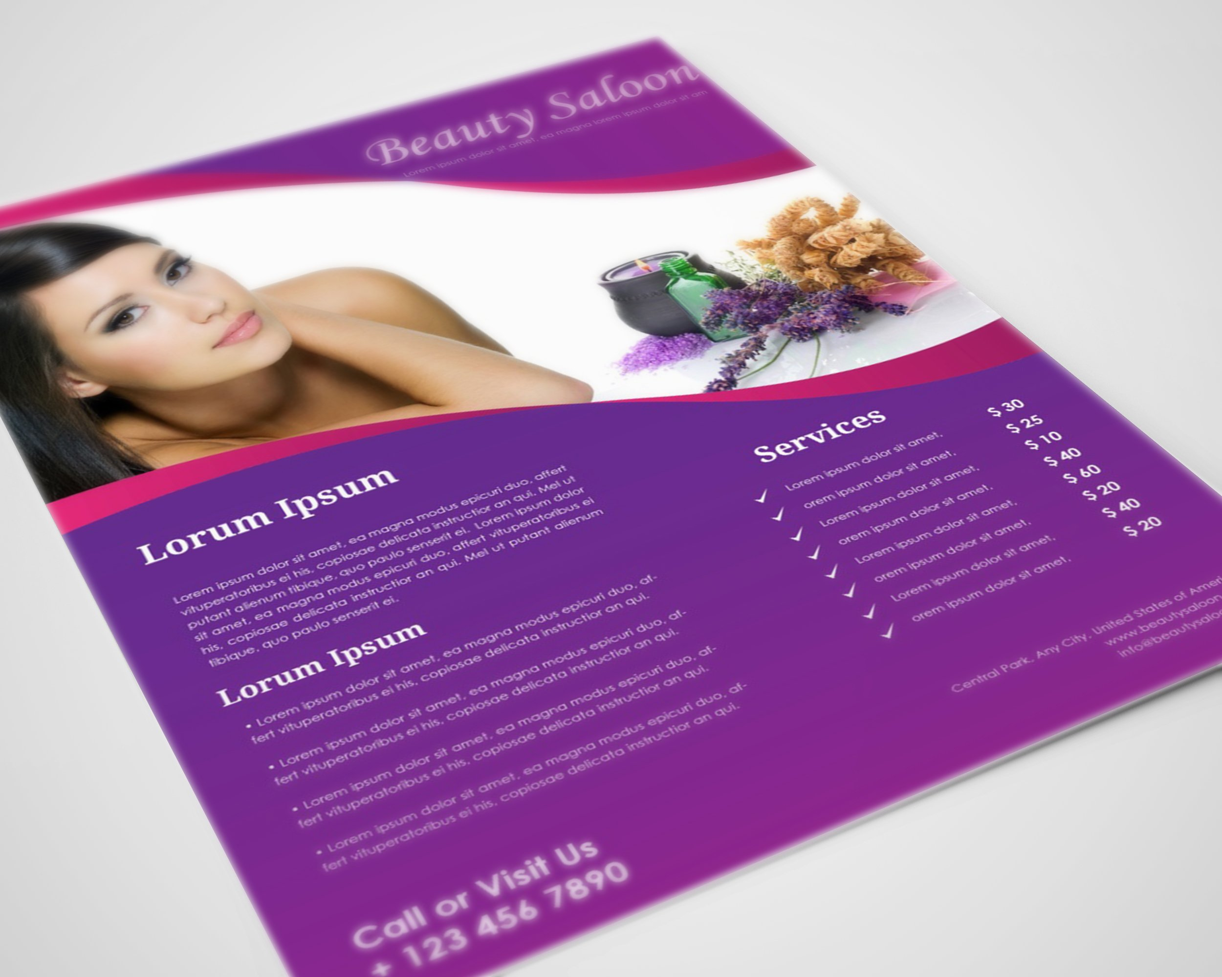 Beauty Salon Flyer Template ~ Flyer Templates ~ Creative Market