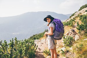 Girl hiking in a mountian