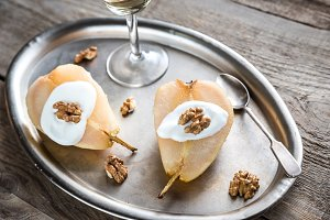 Halves of poached pear