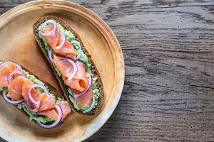 Toasts with avocado and salmon