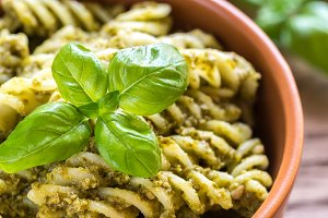 Fusilli with pesto sauce