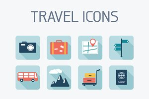 16 Flat Travel Icons