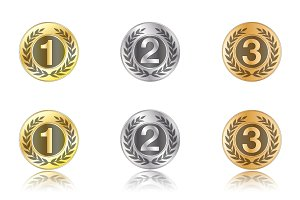 Badges - gold, silver, bronze