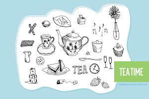 Hand Drawn Clipart - Tea Time