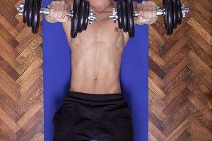 dumbbell fit exercise training man