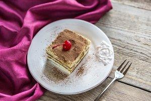 Tiramisu in the plate